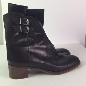 J. Crew Brown Buckle Ankle Boots Size 10.5